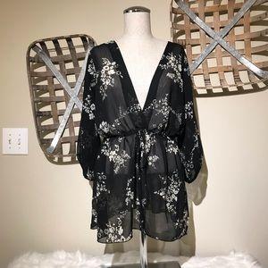 Fleurish black and white sheer floral print top